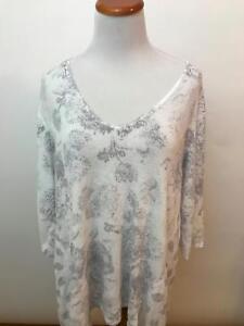 PURE-JILL-J-JILL-white-gray-floral-linen-blend-V-Neck-Sweater-Women-039-s-L