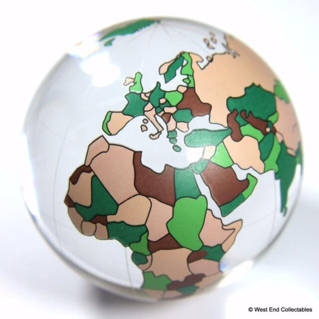"Massive 60mm (2.4"") World Map Glass Globe Marble - Detailed Planet Earth"