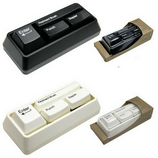 Keyboard Style Desk Stationary Set Stapler Brush Hole Punch Paperclip Dispenser