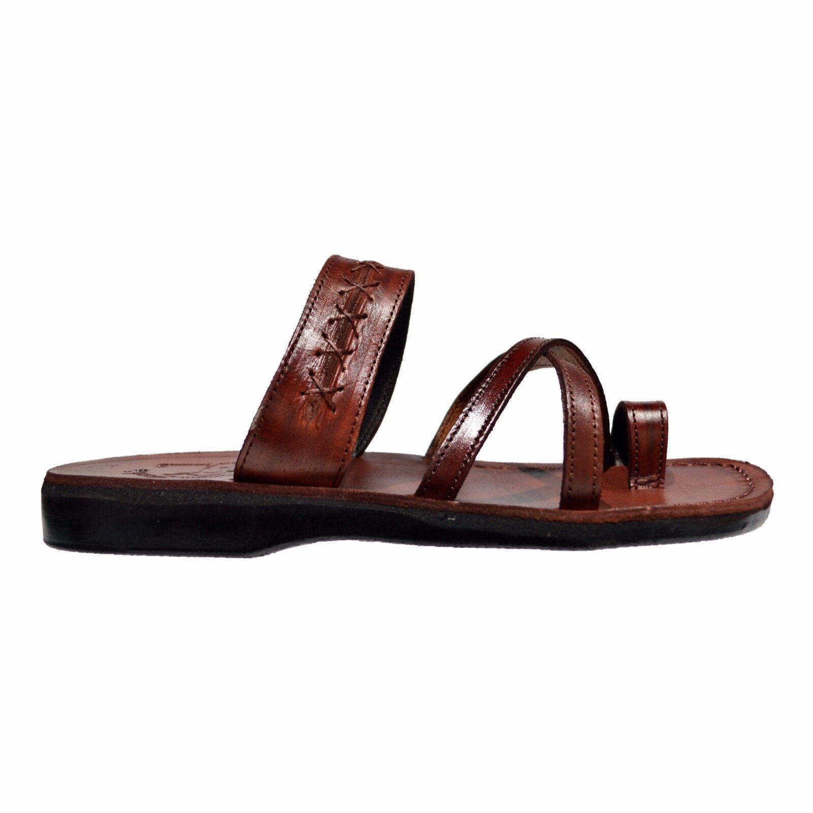 Jerusalem Sandals Caleb Men's Leather Flip Flop Sandals Brown