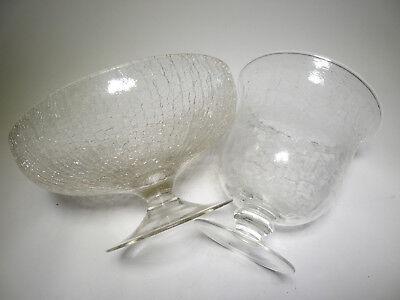 2x Craqueleglas Eisglas Pokalvase Fußschale Krakelee Kraklé Craquelure Ice Glass