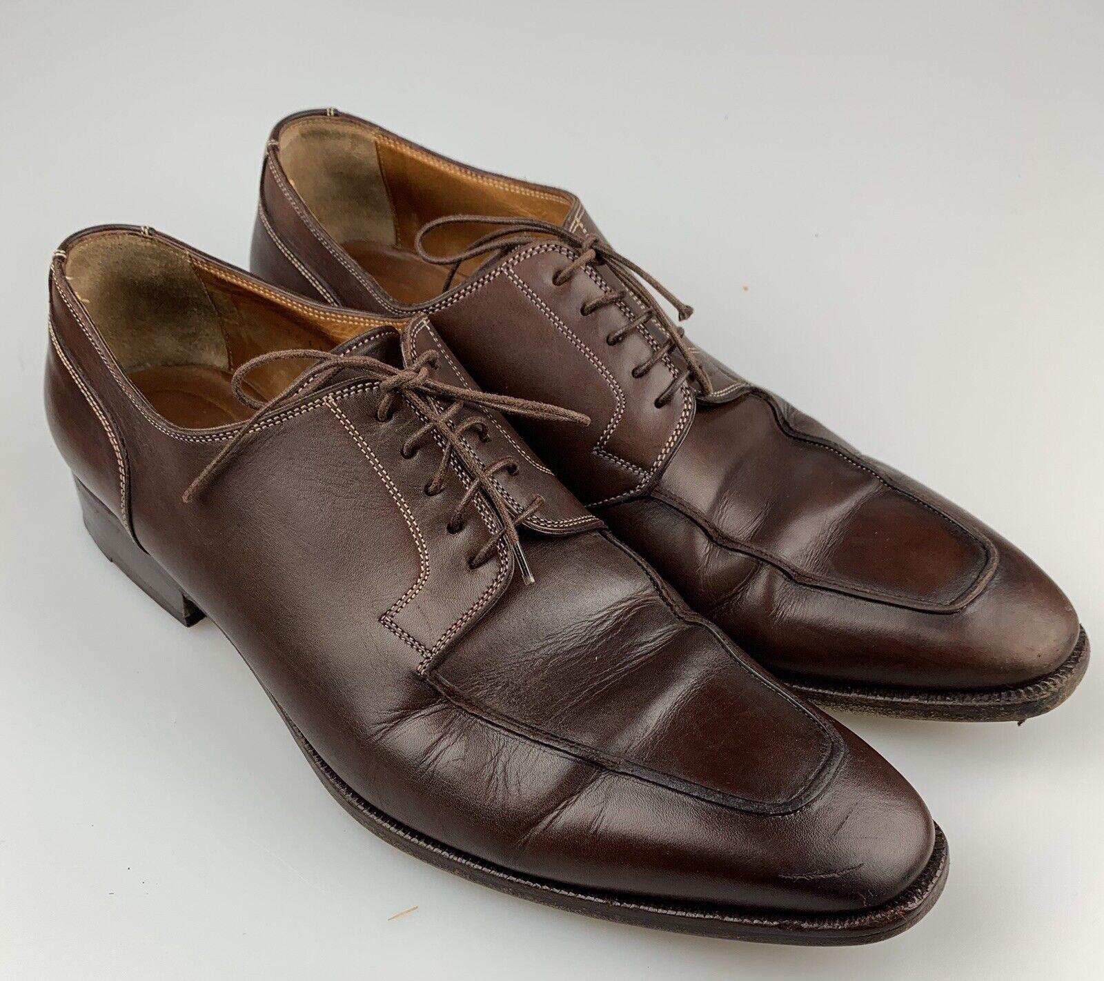 SANTONI PRICHARD Marronee Leather Apron Toe sautope Dimensione 11 D Style 75161150 Sautope classeiche da uomo
