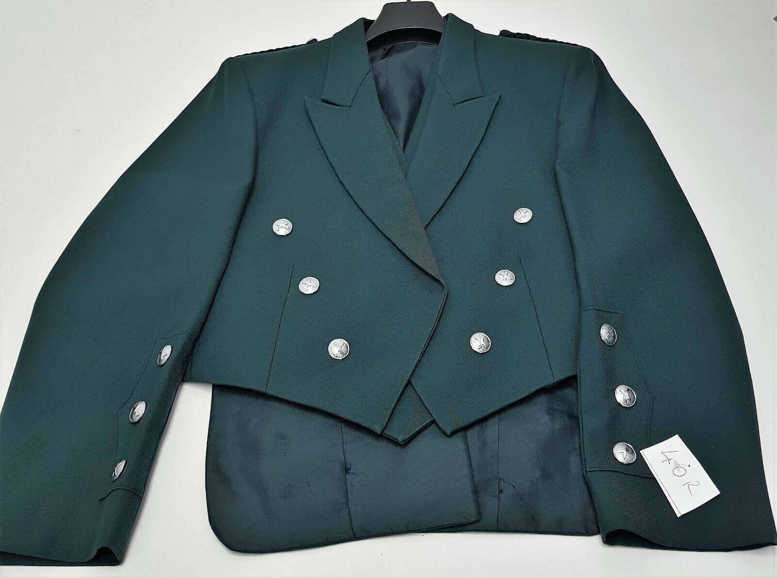 Ex Hire Green Prince Charlie Jacket & Vest Saltire Buttons Scottish Made A1 cond