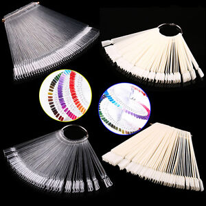 False-Display-Nail-Art-Fan-Wheel-Polish-Practice-Tip-Sticks-Nail-Art-50pcs-HT