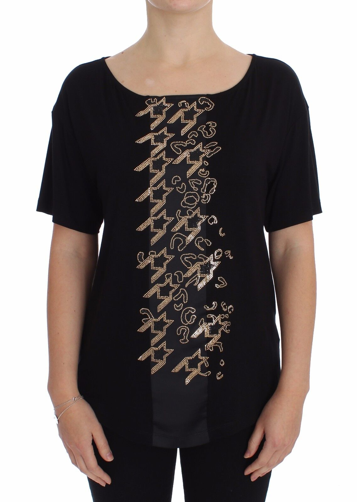 NWT VERSACE JEANS COUTURE VJC schwarz Gold Studded T-shirt Top s. IT42   US6