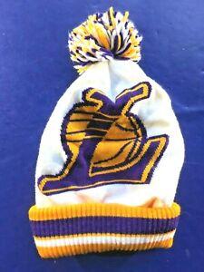 Los-Angeles-Lakers-NBA-Logo-Beanie-Knit-Cap-LA-Purple-Gold-White-Pom-Showtime
