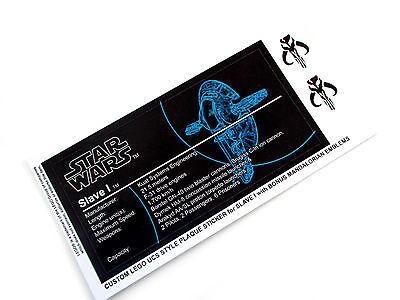 CUSTOM PLAQUE STICKERS for STAR WARS SLAVE 1, LEGO 6209 8097 75060 ,DISPLAYS,ETC