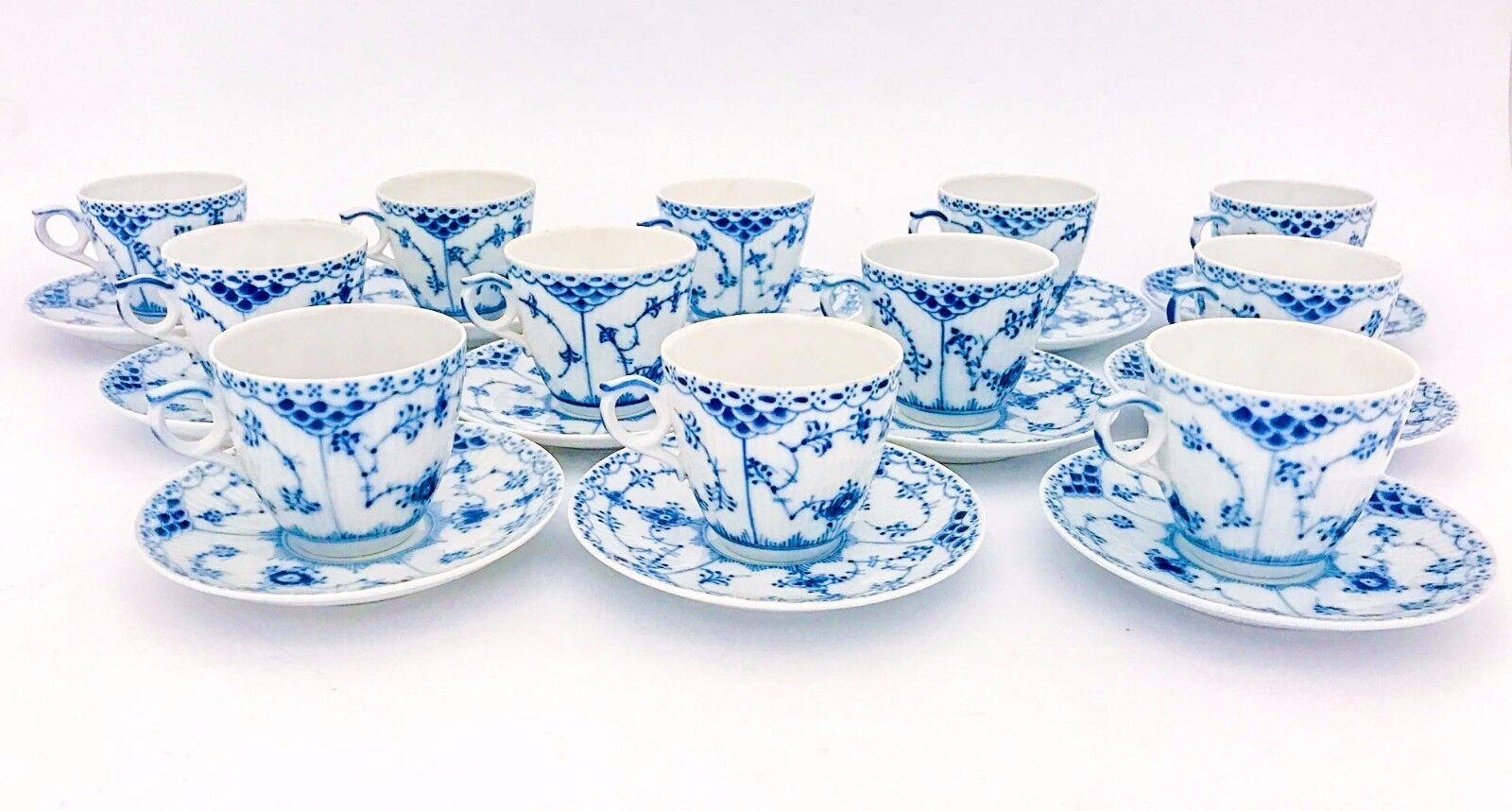 Image 3 - 12 Cups & Saucers #719 - Blue Fluted Royal Copenhagen - Half Lace - 1st Quality
