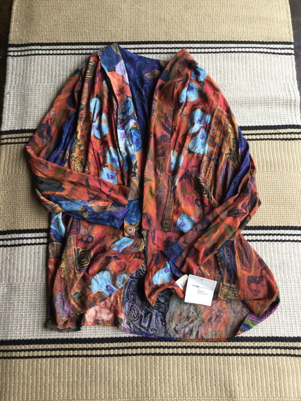 Vintage Laura Kieffer Susan Burrowes Nuevo  con etiquetas para mujer largo Boho Kimono azulsa Talla 24 EE. UU.  la mejor oferta de tienda online