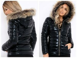 sells new concept exclusive shoes BLACK WET LOOK PUFFER COAT WARM WINTER HIGH SHINY PU FUR HOODED ...