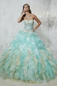 NWT-Quinceanera-Collection-26782-Size-4-Aqua-amp-Gold-organza-jeweled-corset-gown