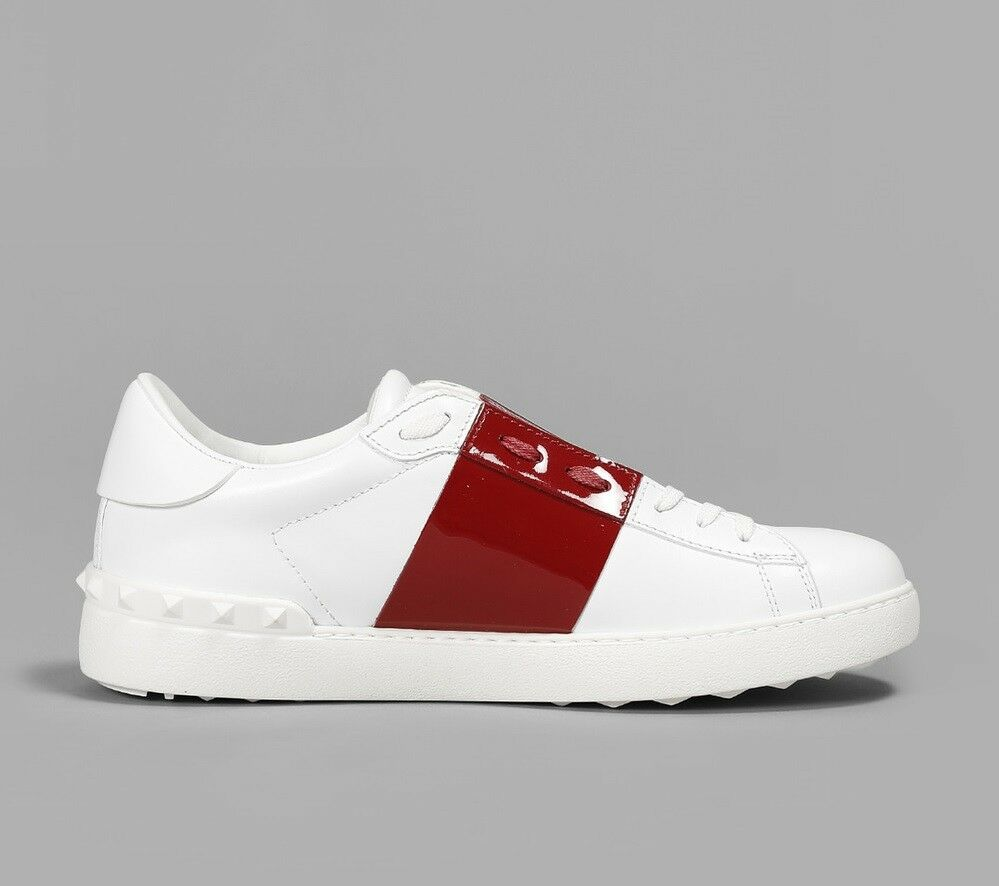 100% Authentic Valentino Open Rock Stud Sneakers Shoes White/Burgundy Italy