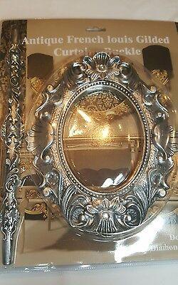 1 Coppia (2 Pezzi) Antico Francese Louis Argento Fibbia Tenda/spilla/laccio Sul Retro- Limpid In Sight
