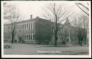 CARO MI MICHIGAN High School 1947 RPPC Real Photo Postcard