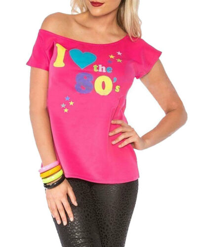 I Love LA 80 S Femme à manches courtes T shirt femme Rétro Pop Star Fantaisie Parti Top