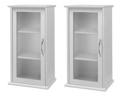 Pack of 2 White Single Door Wall Mounted Bathroom Cabinet with Glass Door