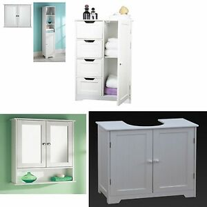 BATHROOM CABINET WHITE FURNITURE SHELVING STORAGE TALL BOY DOUBLE SINGLE MIRR
