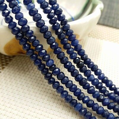 """2x4mm Natural Faceted Dark Blue Sapphire Rondelle Gemstone Loose Beads 15/""""AAA"""