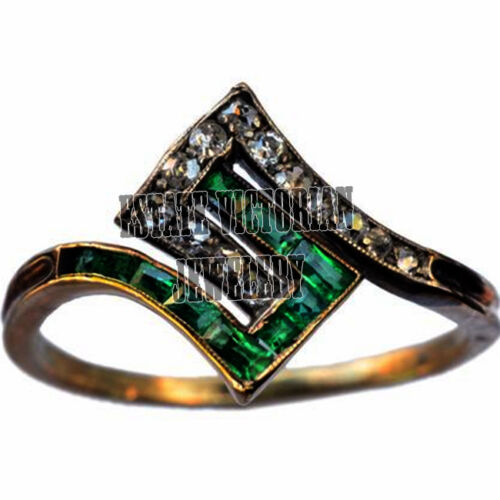 Vintage Estate 0.95Cts Rose Cut Diamond Emerald 925 Sterling Silver Ring Jewelry
