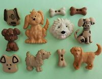 DOG DAYS - Scruffy Puppy Doggy Bone Brown Pet Animal Dress It Up Craft Buttons
