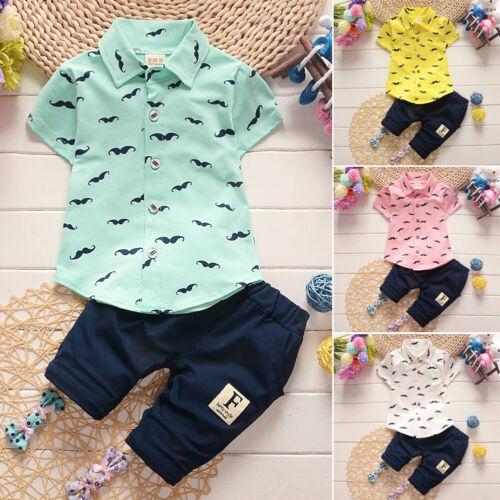 Newborn Toddler Baby Boy Summer Gentleman Clothes Set Pants+Shirt Tops Outfits