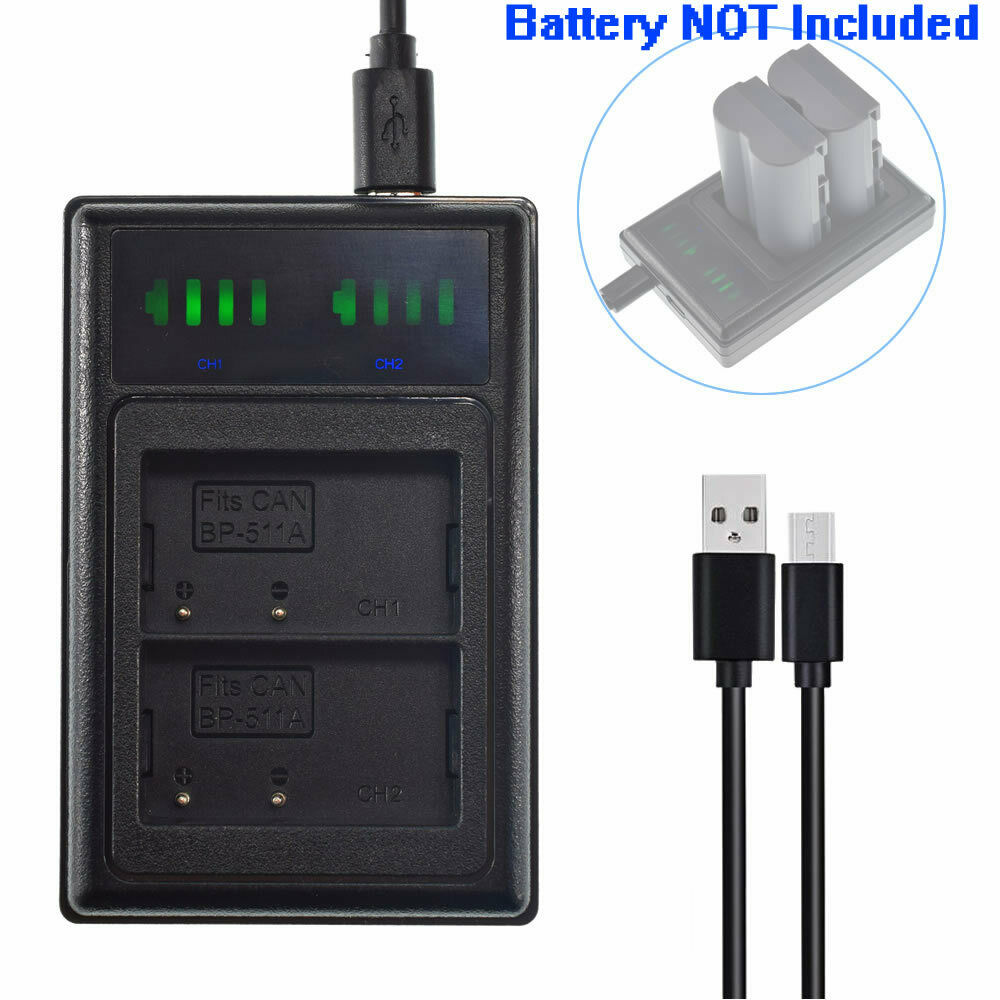 Slim USB Battery charger for Canon BP511 PowerShot G1 G2 G3 G5 G6 90 90IS Camera