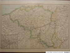 Landkarte von Belgien und Luxemburg, Gent, Lüttich, Lithographie 1886