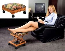 Foot Rest Elevated Foot Legs Stool Adjustable Fold-A-Way Tapestry Filled Foam