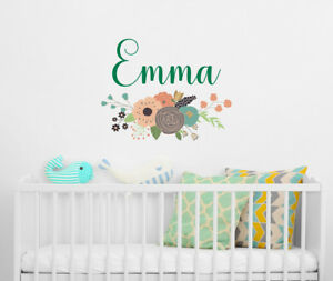 Image Is Loading Girls Name Vinyl Wall Decals Floral Wall Decal