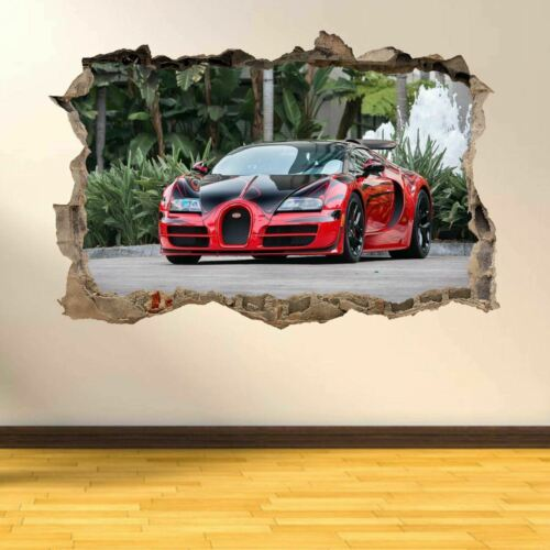 Bugatti coche súper Pared Arte Calcamonía Mural Decoración Para El Hogar Oficina Dormitorio de Niños AR2