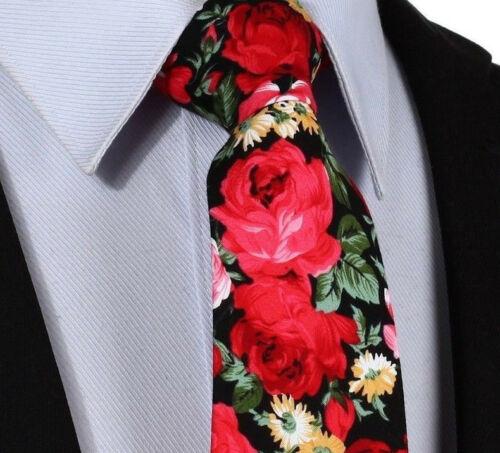 Herren Baumwolle Schwarz 7CM Breit Krawatte Blumenmuster Rote Rosen Grün Yellow