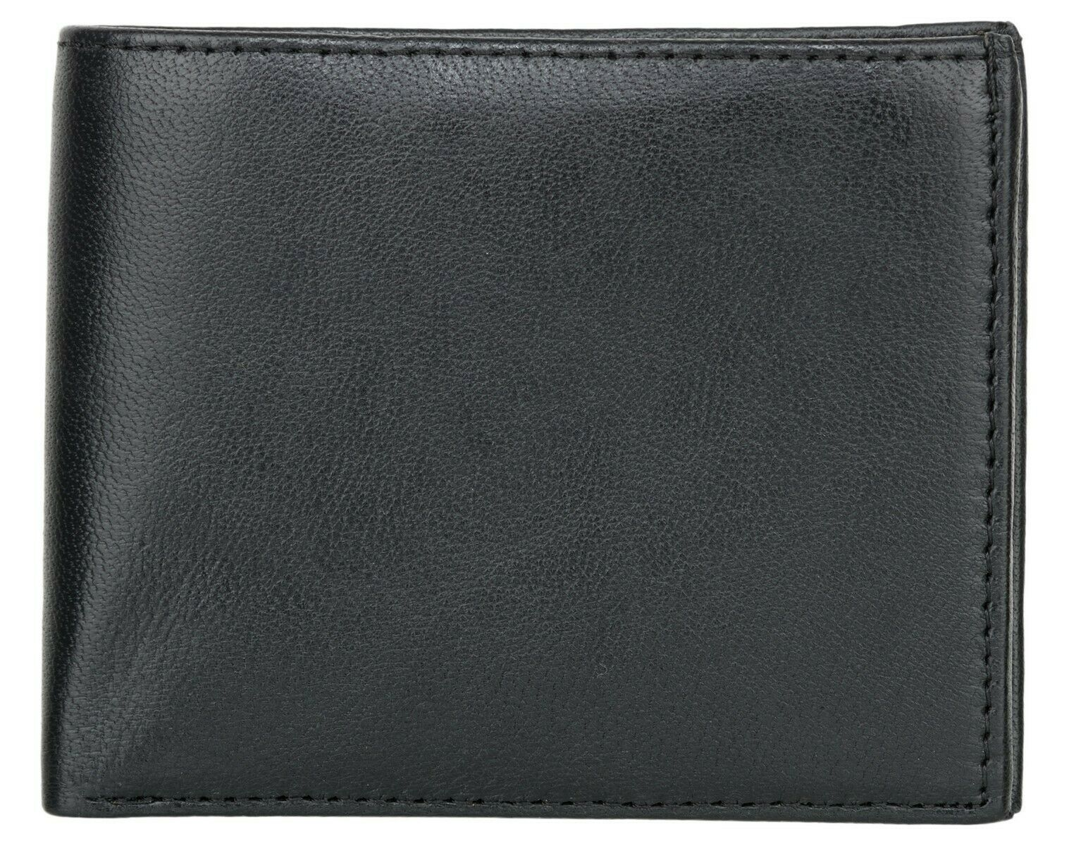 2 Pack - Men's Black RFID Blocking Genuine ID Window Leather Slim Bifold Wallet