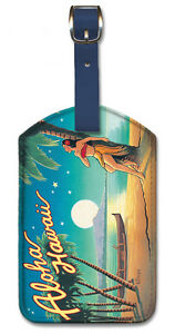 Aloha Hawaii by Erickson Pacifica Island Art Leatherette Luggage Baggage Tag
