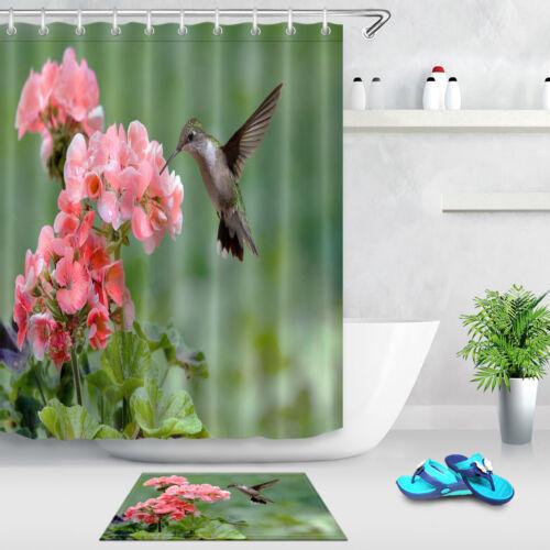 72x72/'/' Hummingbird Feeding Bathroom Waterproof Fabric Shower Curtain 12 Hooks