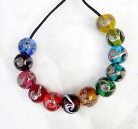 Lgl- 12ea Handmade Lampwork Beads- Jeweled Christmas Swirls - Sra- Beach Rainbow
