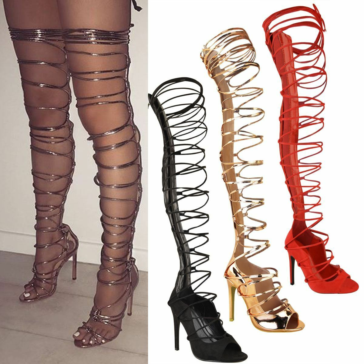 Mujer botas Over Knee Thigh High High Party Stiletto High Thigh Heel Platform Zapatos Talla 2f4dac