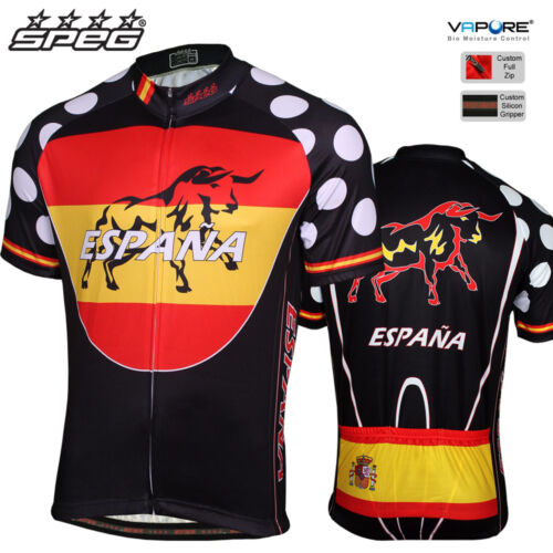 SPEG Spain Espana Mens Short Sleeve Cycling Jersey Full Zipper 100% Vapore