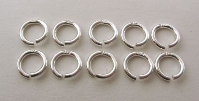 10X STAMPED 925 GENUINE SOLID STERLING SILVER OPEN JUMP RINGS 6 mm DIAMETER