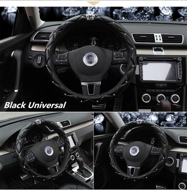 Black Car Steering Wheel Cover PU leather 38CM Rhinestone Crystal Diamond Crown