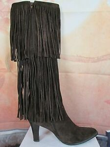 73d905a7880 Victoria s Secret Colin Stuart Tall Brown Suede Tiered Fringe Boots ...