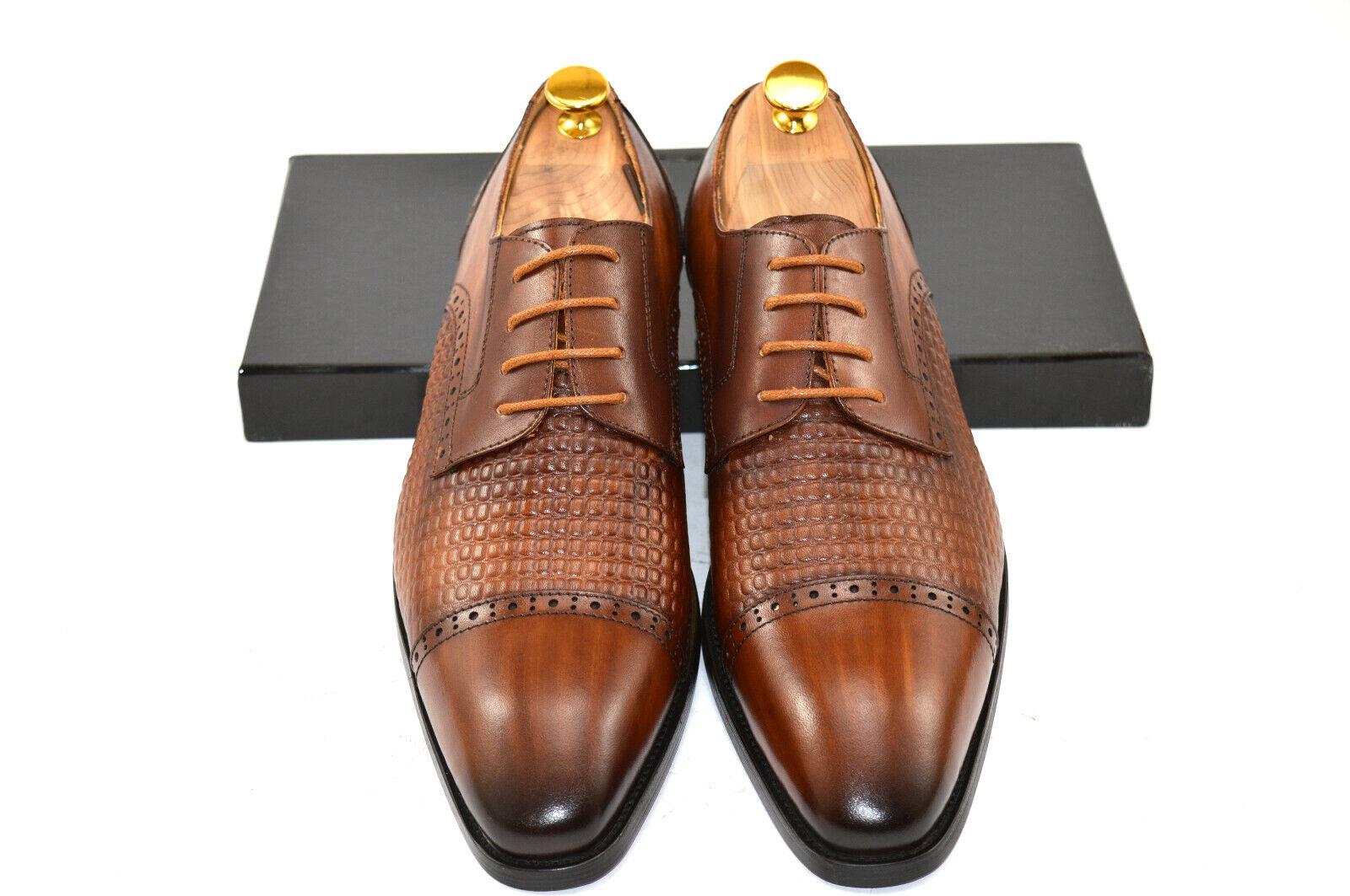 Herren Businesschuhe Handmade Echtleder braun Halbschuhe Gr. 41-45 Oxford
