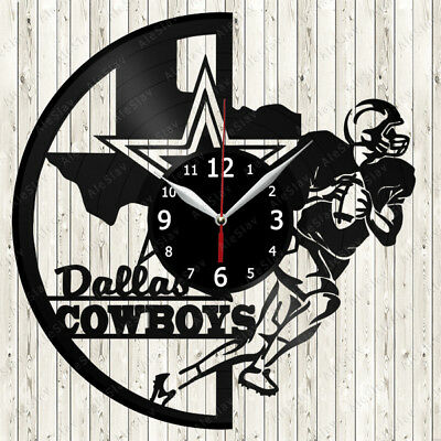 Dallas-Cowboys Sport Vinyl Record Wall Clock Decor Handmade 1089