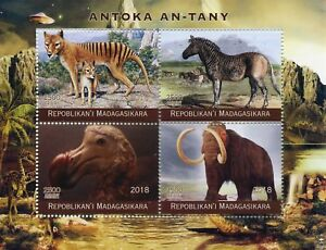 Image of: Dinosaurs Tyrannosaurs Image Is Loading Madagascar2018mnhprehistoricextinctanimals dodosmammoths Ebay Madagascar 2018 Mnh Prehistoric Extinct Animals Dodos Mammoths 4v