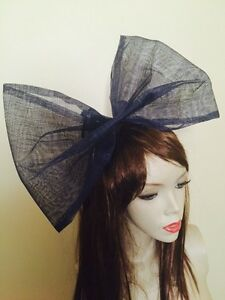 NEW Big Navy Blue Bow Fascinator Hairband 80s Hen Party Headband ... af4e7abd610