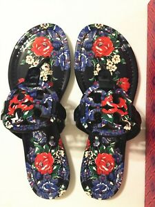 NIB-Tory-Burch-Printed-Patent-Leather-Miller-Sandals-Shoes-Navy-Tea-Rose-Size-7