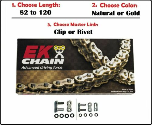 EK Chains 520 SRO6 Oring Drive Chain Natural or Gold w Clip or Rivet Master Link