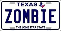 Zombie Texas Background Novelty Metal License Plate