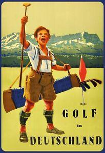 Golf-en-Allemagne-Garcon-Panneau-Metallique-Plaque-Voute-Metal-Etain-20-X-30-CM