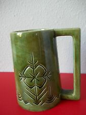 Hand crafted ceramic beer stein (mug) with Latvian design
