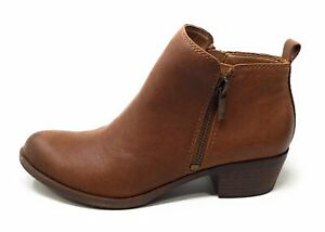 Lucky-Brand-Womens-Basel-Ankle-Boots-Brown-Leather-Size-6-M-US